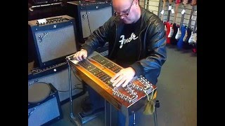 Our guitar tech Dave Kirk on his pedal steel at Hobgoblin Music