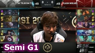 SK Telecom T1 vs Flash Wolves | Game 1 Semi Finals LoL MSI 2017 Play-Offs | SKT vs FW G1