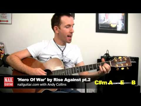 'Hero Of War' Rise Against Guitar Lesson pt.2 ★ Song Tutorial