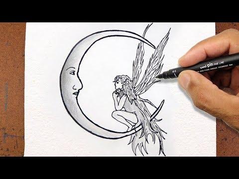 Como Desenhar Uma Fada E Lua Desenho Tumblr Tatoo How To Draw