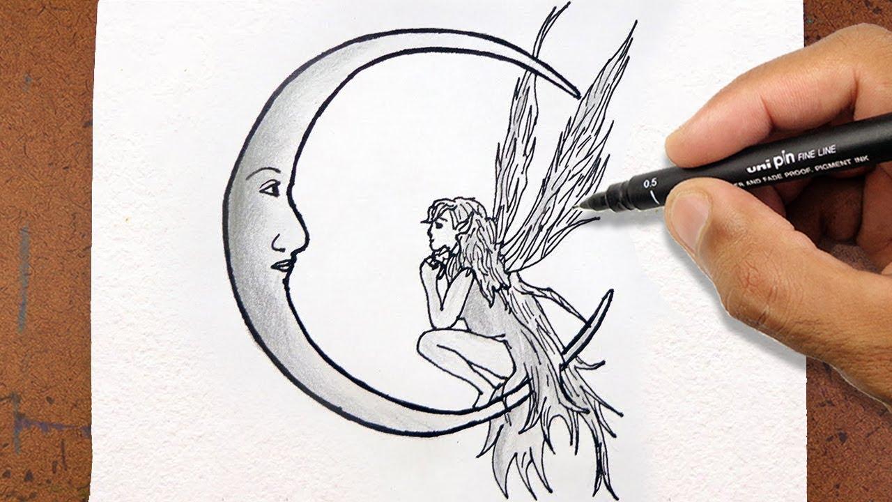 Desenhos Tumblr De Mão Estalando Como Fazer: Como Desenhar Uma Fada E Lua, Desenho Tumblr Tatoo, How To
