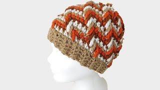 Mütze Häkeln Im Reliefmuster Tricolor