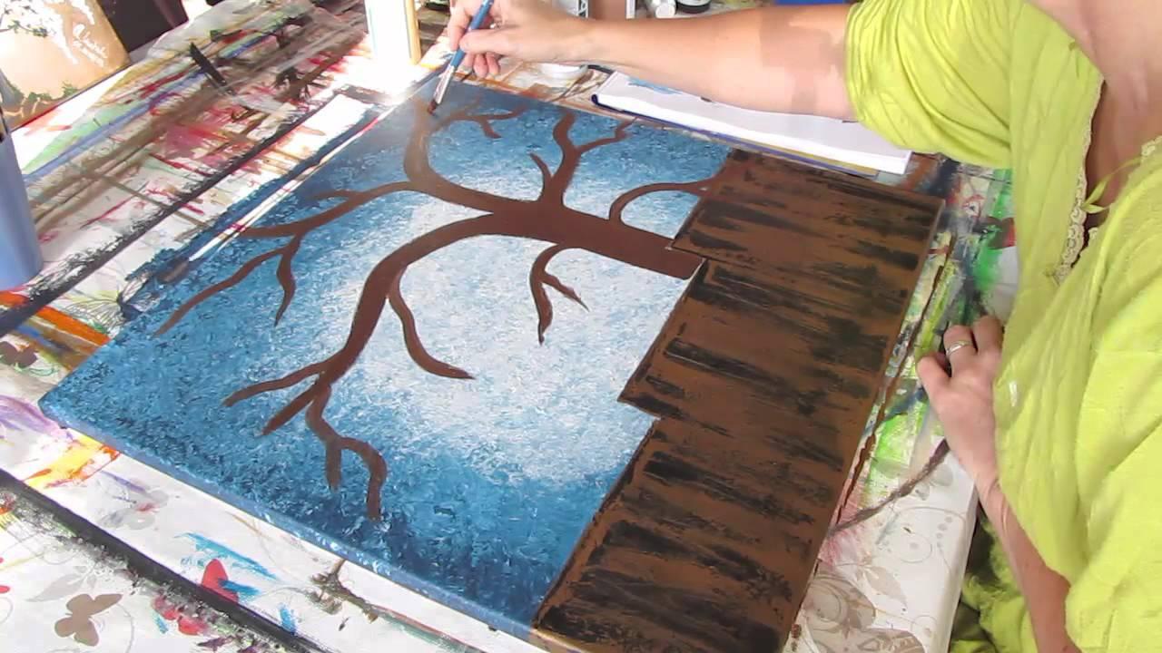 Kreativ Statt Bild Acryl Baum Stamm äste Malen Painting Tree Trunk Branches