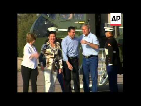 Bush hosts Danish prime minister at Texas ranch, arrival