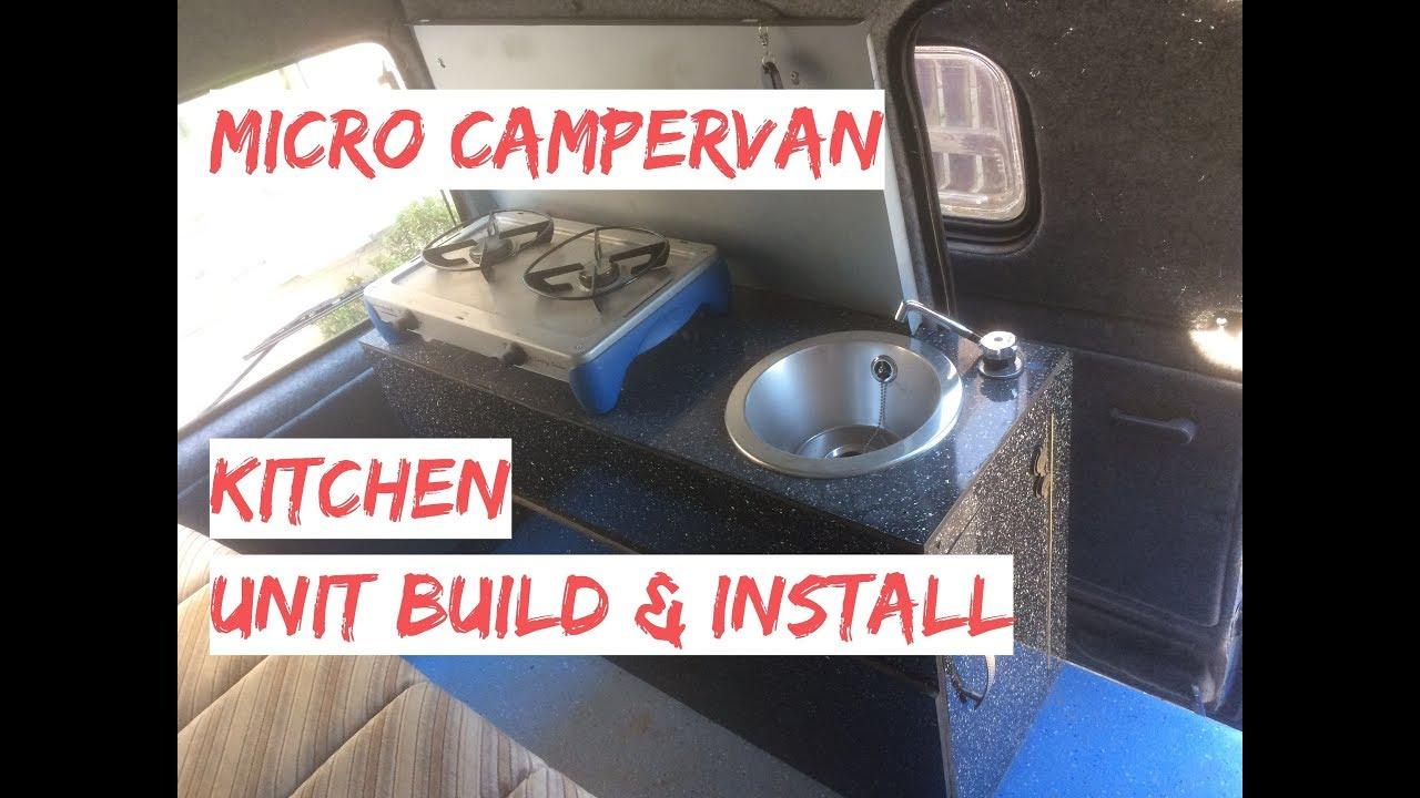 Campervan Kitchen Unit Build & Install With Gas Burner & Sink - Micro  Camper Kitchen Pod