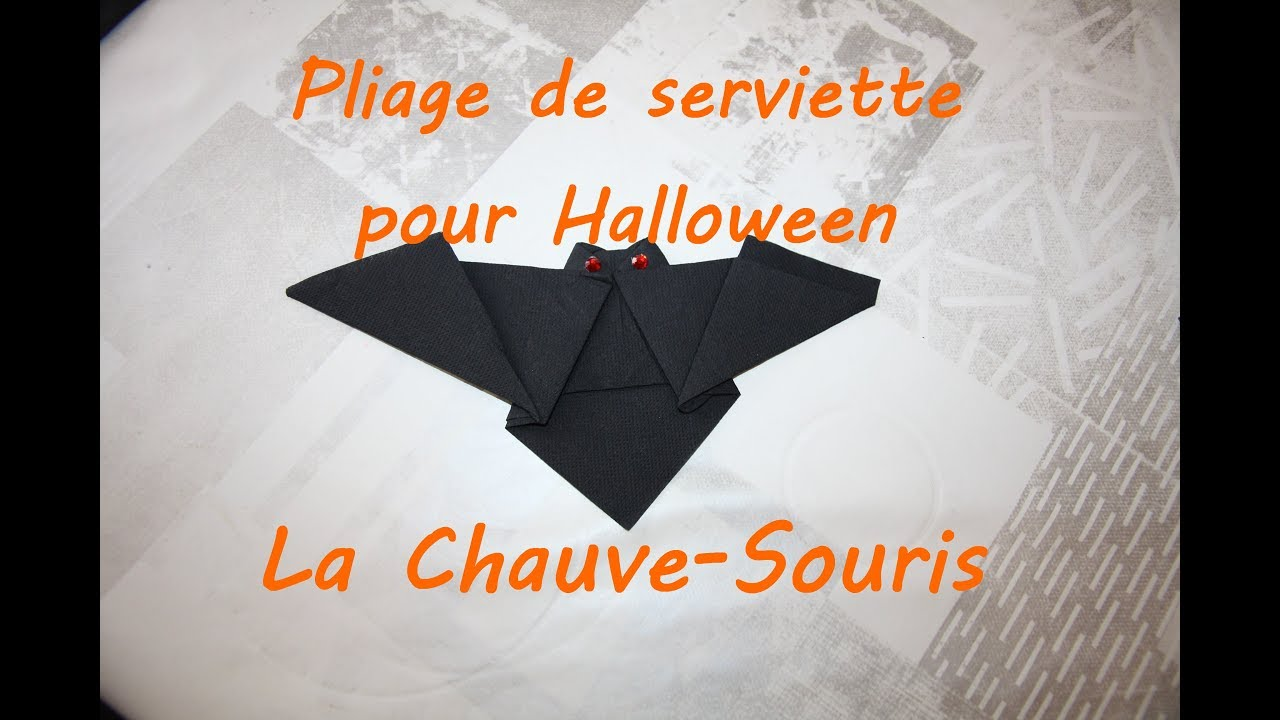 diy pliage de serviette en chauve souris pour halloween youtube. Black Bedroom Furniture Sets. Home Design Ideas