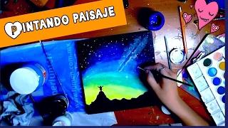 """Pintando Paisaje con acrilicos l painting ( speed drawing) #3 """"The night sky watcher"""""""