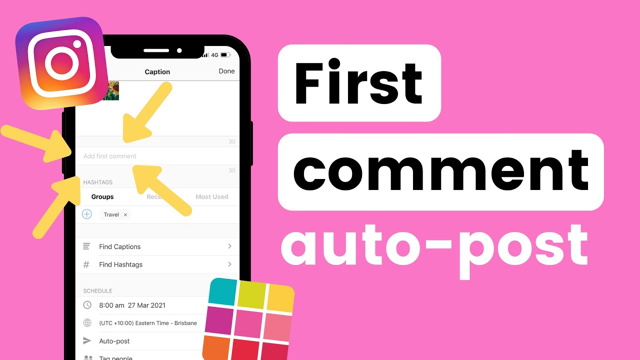 How to Schedule FIRST COMMENT on Instagram with Preview (+ auto post hashtags in comments)