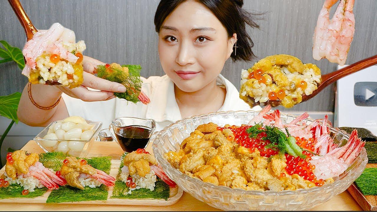 MUKBANG) 초호화✨ 성게알+단새우+연어알 덮밥 먹방 ASMR Sea urchin shrimp salmon roe Rice REAL SOUND