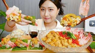 MUKBANG) 초호화✨ 성게알+단새우+연어알 덮밥 먹…