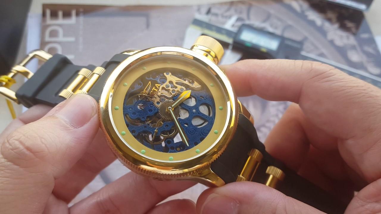9f510067676 Relógio invicta Russian Diver 80119 corda manual dourado na altarelojoaria