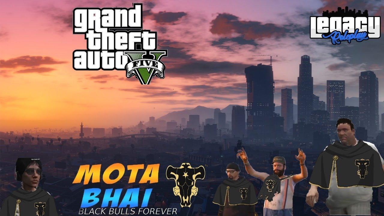 MOTA BHAI GTA V ROLEPLAY BLACK BULLS GANG SABSE KHATARNAK GANG ! 20K OP FAMILY!