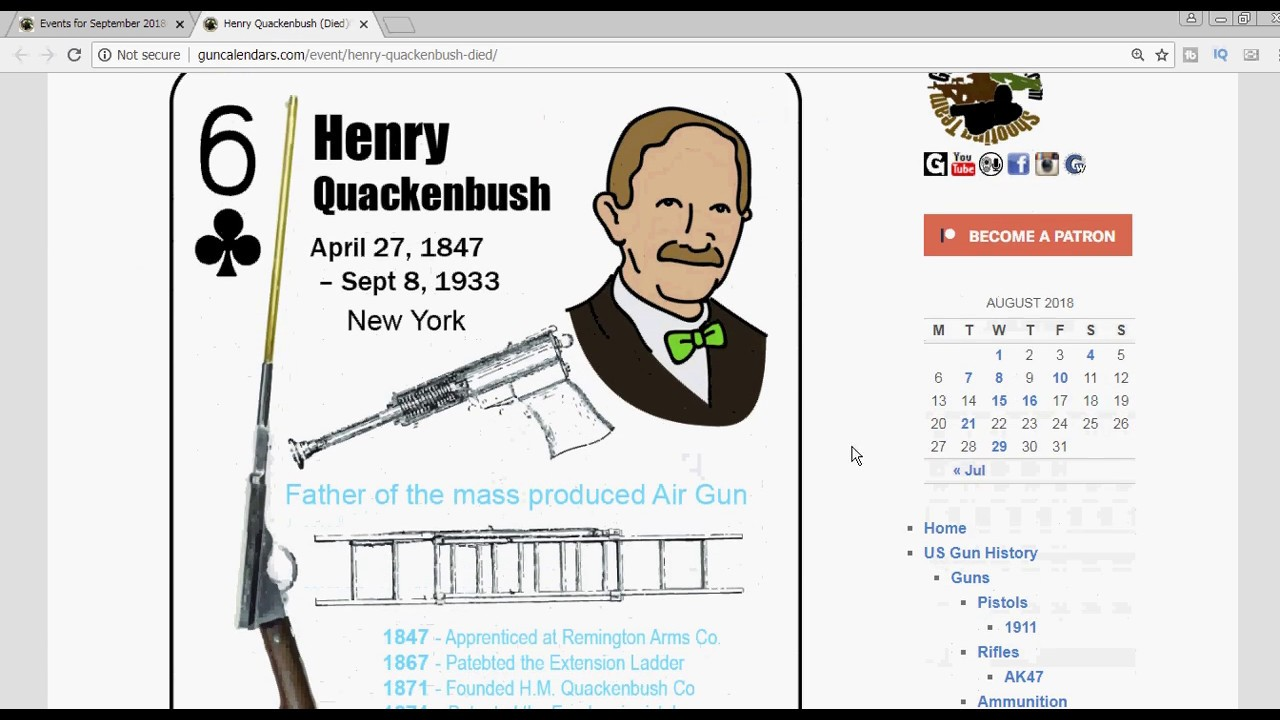 Henry Quackenbush Died in 1933 – father of the mass produced air gun