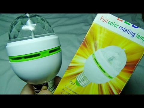 Диско-лампа на светодиодах.Colorful Auto Rotating RGB LED Bulb.