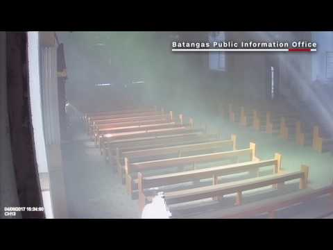 CCTV footage inside Batangas Basilica during quake