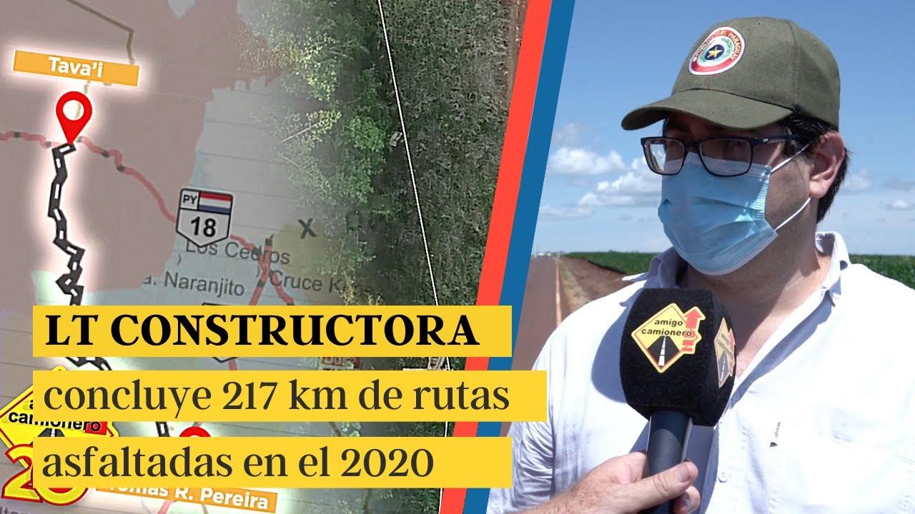 LT concluye 217 km de rutas asfaltadas en el 2020