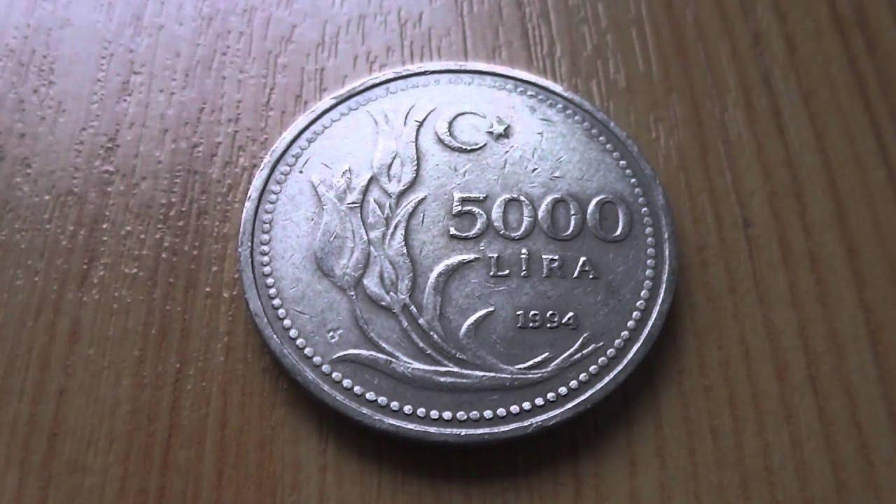 5000 Lira Münze Aus Der Türkei Von 1994 In Hd Youtube