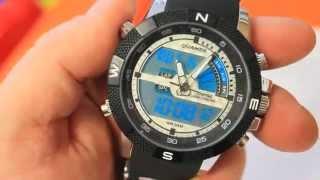 Round LED Digital Quartz Analog Wrist Watch Wristwatch with Rubber Band for Men Gentlemen WMN-183206