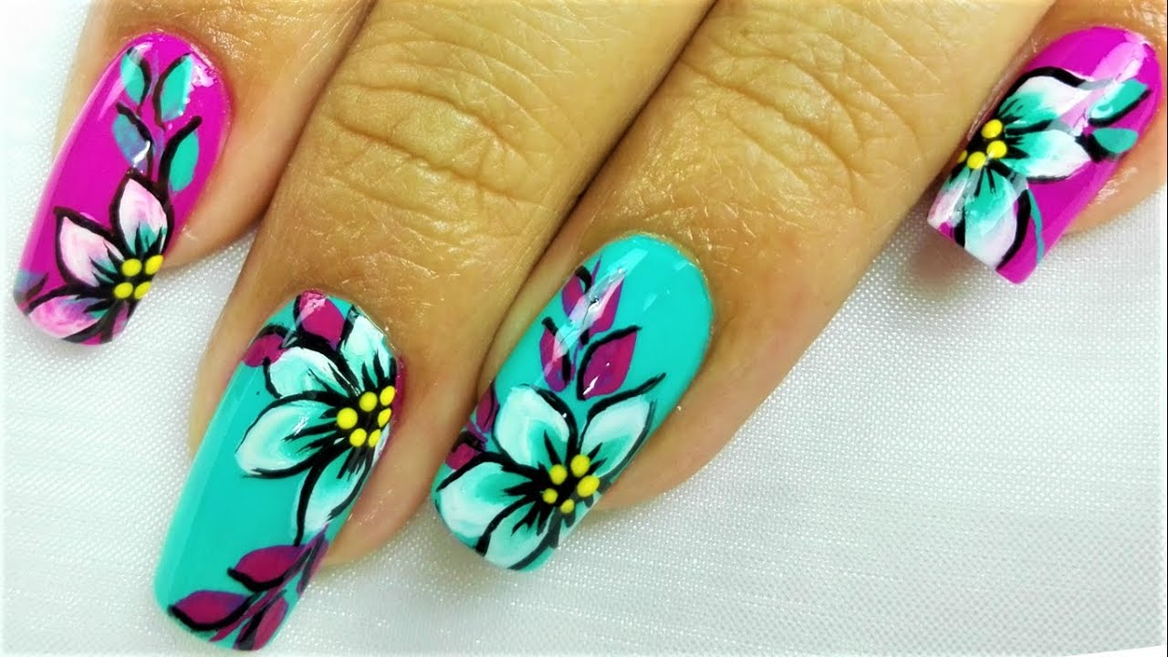 Decoración De Uñas Flores Pinceladas Uñas Flores One Stroke Fácil Pincelada Para Principiantes