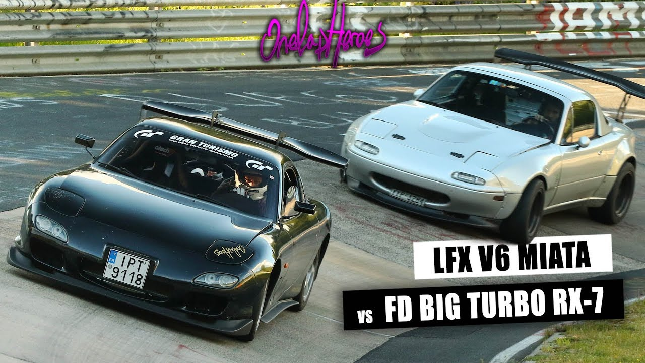 Big-Turbo Mazda RX-7 vs V6-Swapped MX-5 Miata on the Nurburgring