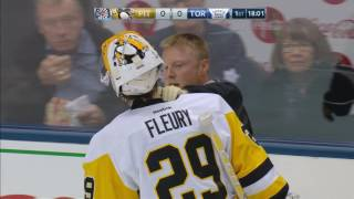 Fleury heads to dressing room after taking skate to face