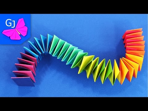 Смотреть Оригами Змейка из бумаги