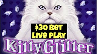 🐱 KITTY GLITTER 🐱 $30 BET LIVE PLAY SEARCHING FOR THE BONUS HIGH LIMIT SLOT MACHINE