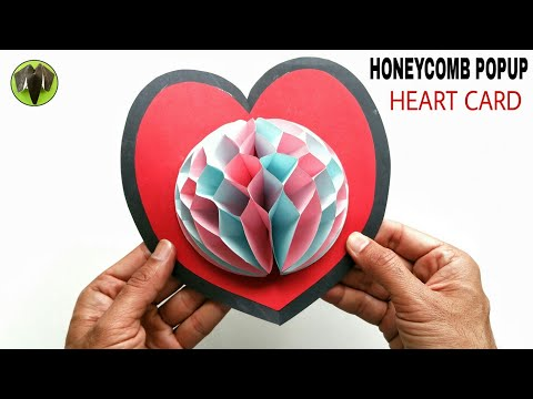 Honeycomb Popup Heart Card  for Valentine's Day - DIY Tutorial - 882
