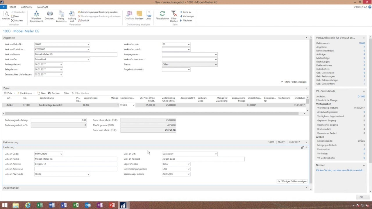 Angebot Erstellen Microsoft Dynamics Nav Navision Youtube