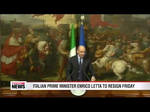Italian Prime Minister Enrico Letta to resign Friday