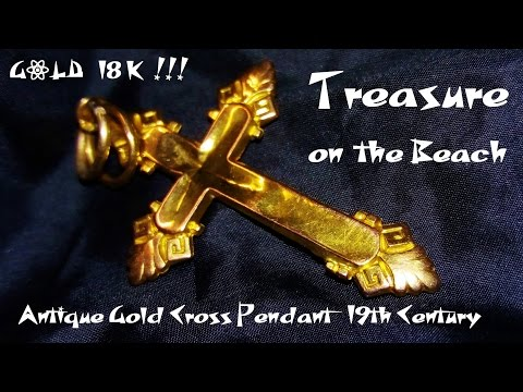 TREASURE ON THE BEACH METAL DETECTING Antique Gold Cross 18 K