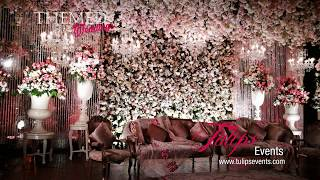 Peach Pakistani Wedding Walima Theme Stage Decoration Bytulips Events