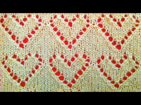 Плед узор сердечки спицами