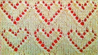 Ажурный узор сердечки вязание спицами для начинающих. Openwork pattern of a heart knitting needles