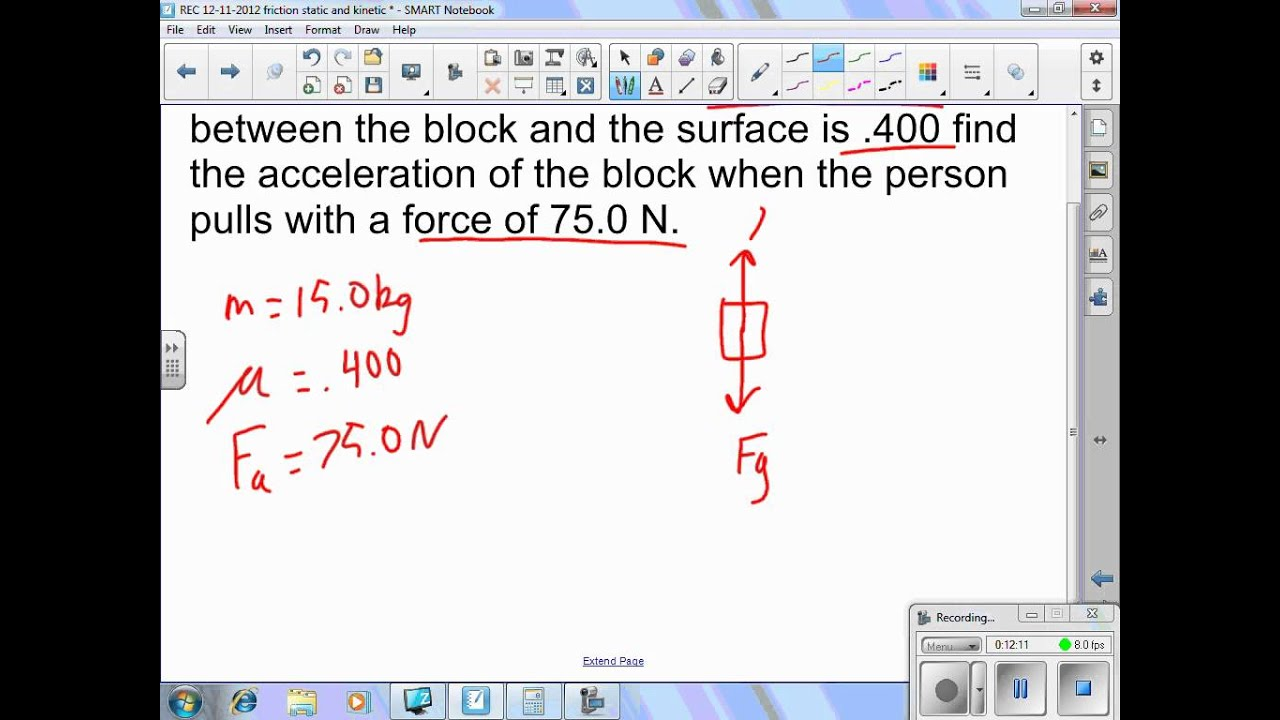 Physics - Unit 2 Newton's Laws Lesson on static and kinetic friction - YouTube