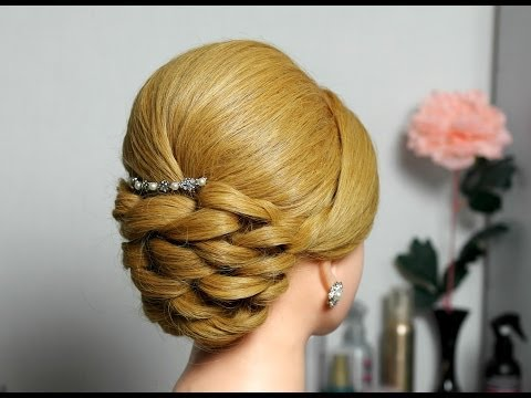 Bridal prom updo hairstyle for long hair.
