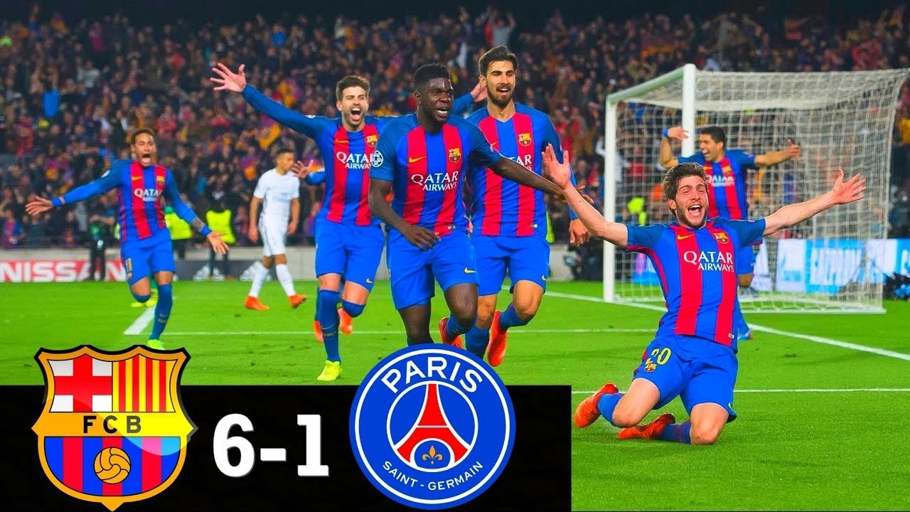 Barcelona Vs Psg 6 1 All Goals Highlights English Commentary Champions League 08 03 2017 1080p Youtube