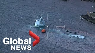 Norwegian naval frigate now nearly totally submerged following accident