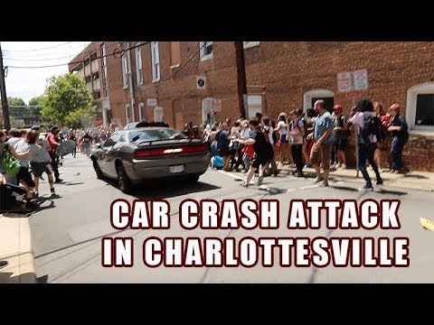 Car Driving Though Antifa Rally