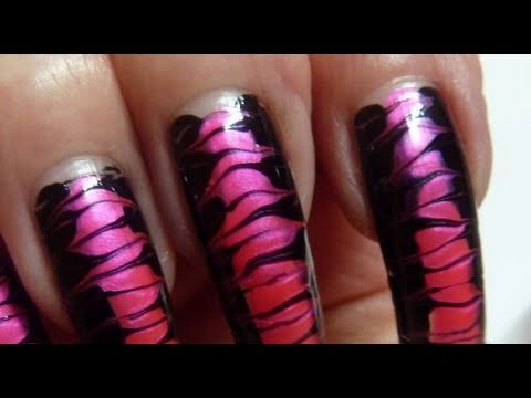 Corset In Drag Black & Hot Neon Pink Needle Nail Art Design Tutorial ...