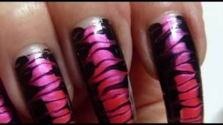 Corset In Drag Black & Hot Neon Pink Needle Nail Art Design Tutorial How To HD Video