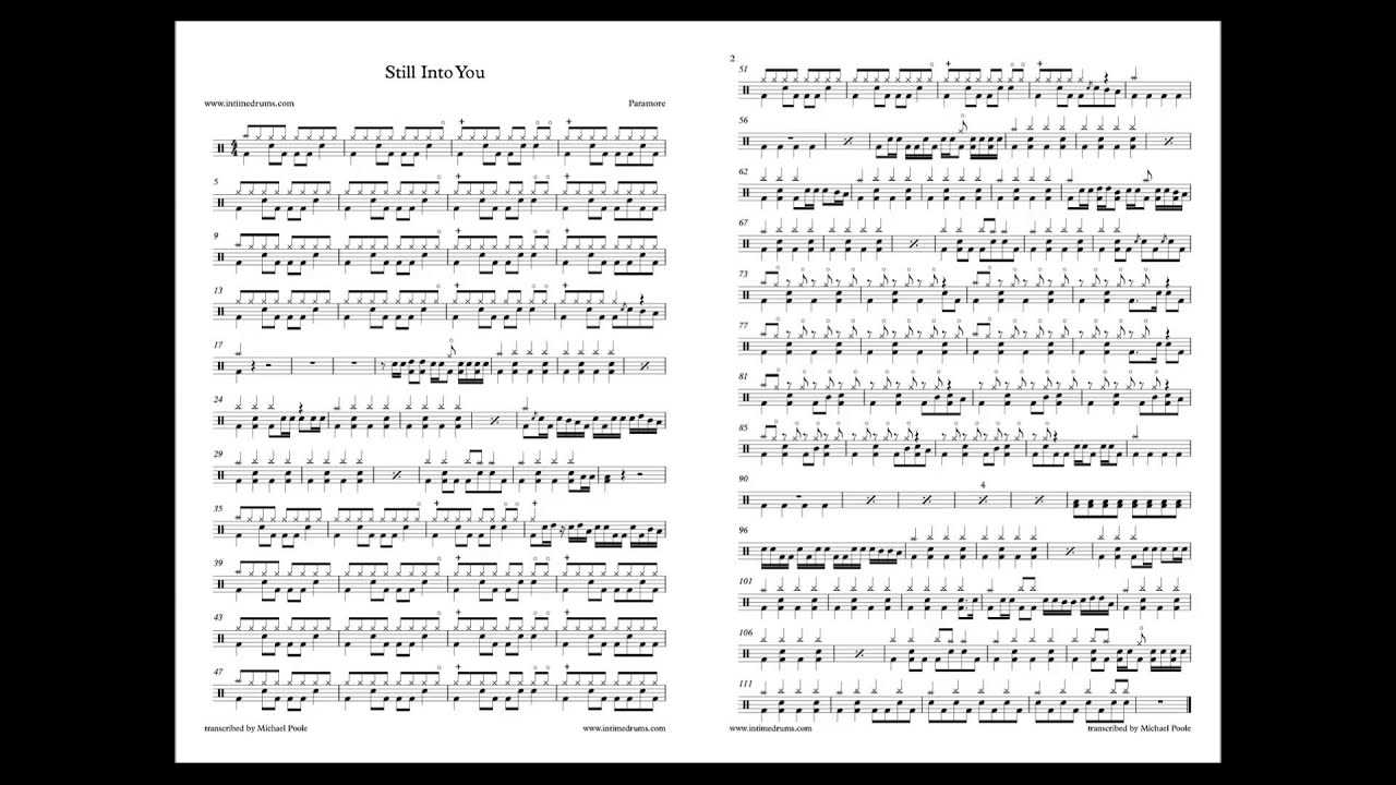 Still Into You Paramore Drum Sheet Music Youtube