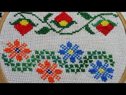 Beautiful Colored Border Cross Stitch Embroidery Design | Embroidery Arts | Kamana Dubey