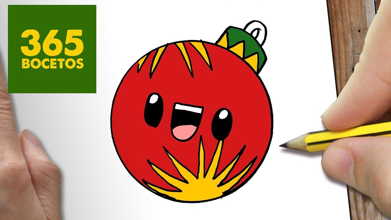 Como Dibujar Una Bola Para Navidad Paso A Paso Dibujos Kawaii Navideños How To Draw A Ball