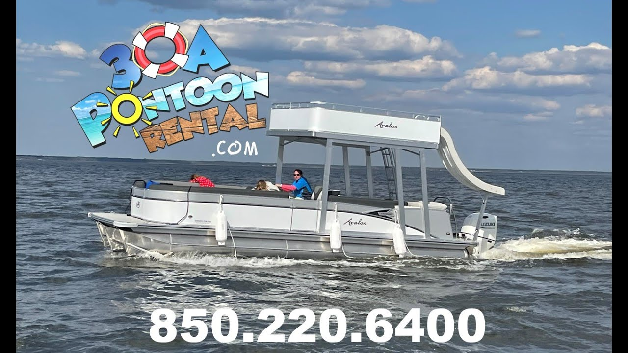 DOUBLE YOUR FUN with our new 2021 model double decker pontoon rental with water slide-Santa Rosa Bea