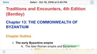 APWH: The Byzantine Empire (Ch. 13 Traditions & Encounters)
