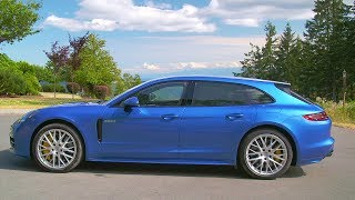 2018 Blue Panamera 4 E Hybrid Sport Turismo   V6 Exhaust Sound, 462 hp, 700 Nm