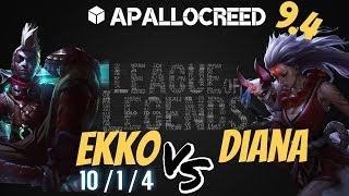 Apallocreed   EKKO vs DIANA Mid Patch 9.4 [SKT T1 SKIN 2018] League Of Legends DRAFT