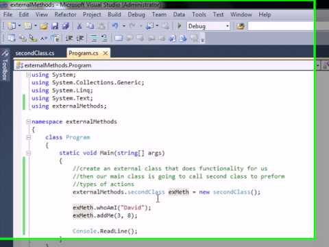 C# How to create external classes in a program