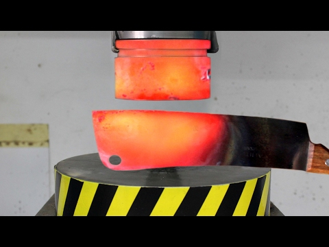 Thumbnail: EXPERIMENT Glowing 1000 degree HYDRAULIC PRESS 100 TON vs Glowing 1000 degree MEAT CHOPPER